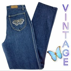 Vintage 70's 80's High Rise Butterfly Pocket
